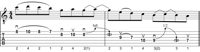 Example Lick: A Minor Pentatonic with added 2