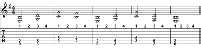 Half Note Chord Progression
